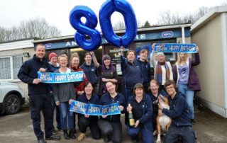 Staff, volunteers and friends of the Chesterfield RSPCA help celebrate their 80th anniversary.